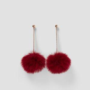 Zara Drop Pom-Pom Earrings